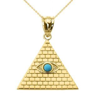 10K Real Gold Pyramid Turquoise Evil Eye Necklace